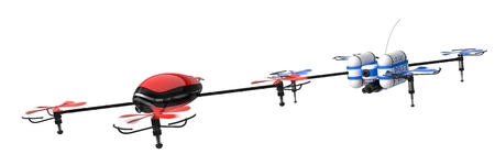controlled: 3d illustration of drone chase. isolated on white background. Stock Photo