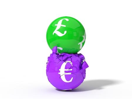 3d illustration of crashing pound and euro currency balls. isolated on white background. Stock Photo