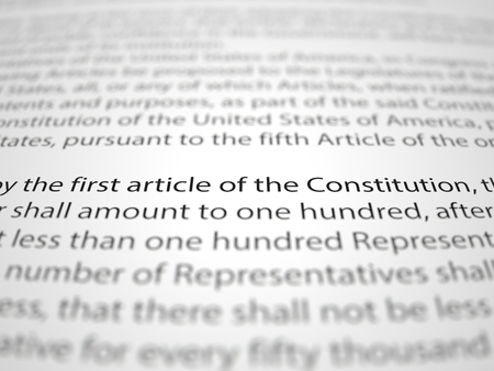 bill of rights: The first amendment papers with depth of field effect.