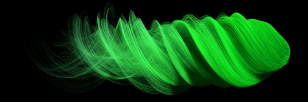 3d abstract with green lines. comet form version