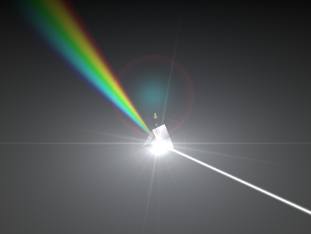 3d illustration of prism and refraction light rays.