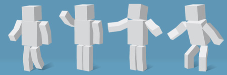 4 つの異なるポーズの立方の文字。