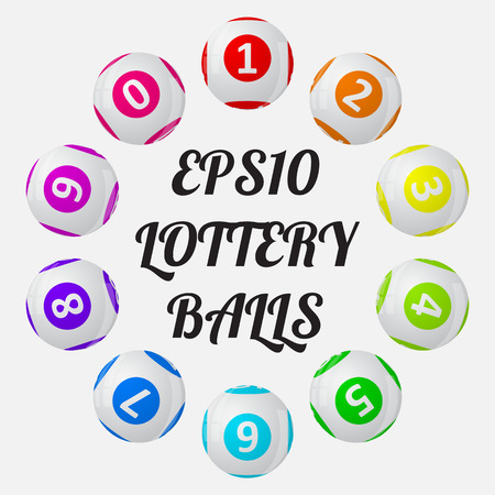 sorted: vector illustration of lottery balls. sorted around text.