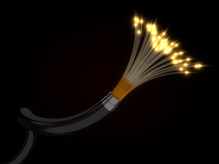 fiber optic cable: 3d illustration of glowing fiber optic cable