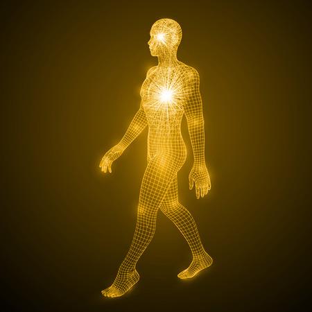 歩く人のエネルギー。  イラスト・ベクター素材