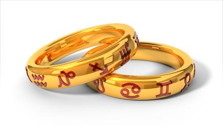 zodiac themed wedding rings.