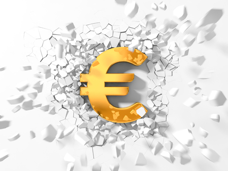 destructive: euro symbol hitting to wall and flying pieces around.