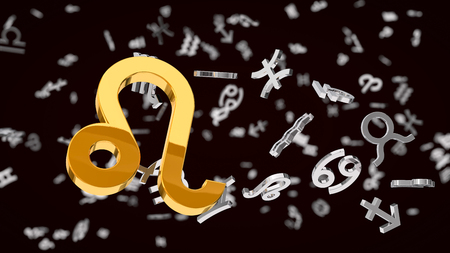 dept: astrology themed 3d illustration with choosen one leo sign