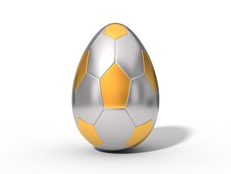 brushed: easter egg shaped metallic soccer ball.