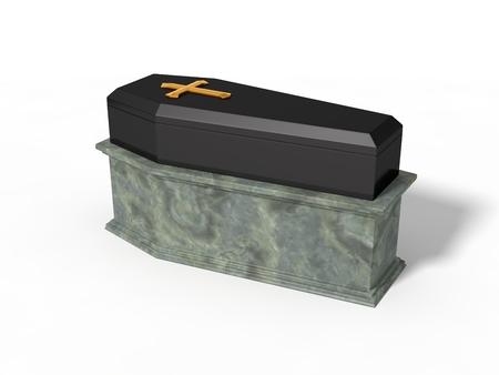 coffin: simple black coffin on marble platform,
