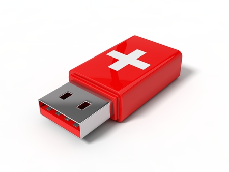 pendrive: 3d illustration of first aid usb stick.