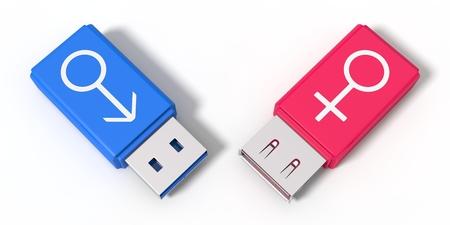 3d illustration of simple usb stick with gender symbols.