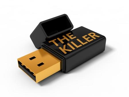 3d illustration of killer usb stick. Stock Photo
