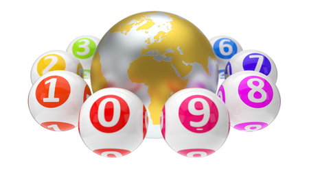 3d illustration of lottery balls and world Stock Photo
