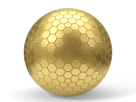 3d illustration of hexagon plated golden sphere