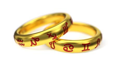 ruby: 3d illustration of golden zodiac rings.