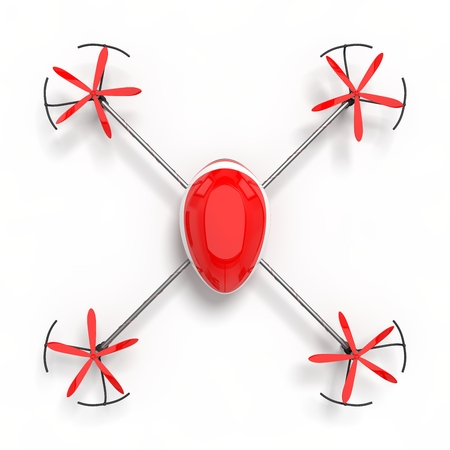 3d illustration of red drone.