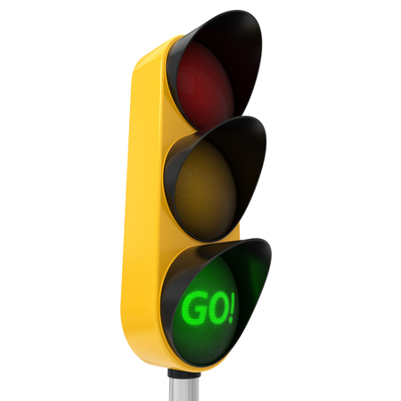 racing: 3d illustration of traffic light with text. Stock Photo