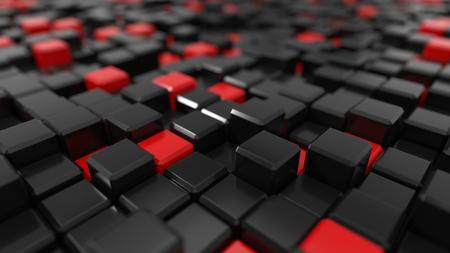 3d illustration of black and red cubes landscape