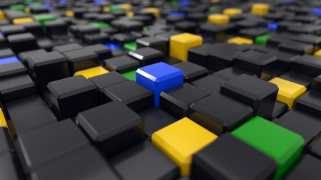 3d illustration of black and colored cubes landscape