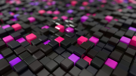 3d illustration of black and pink cubes landscape