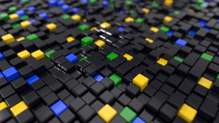 3d illustration of black and colored cubes landscape