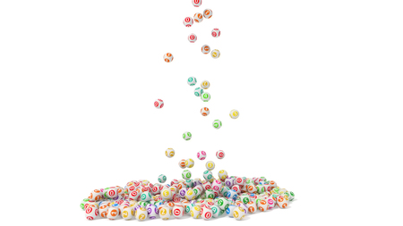 3d illustration of lottery balls stack Stock Photo