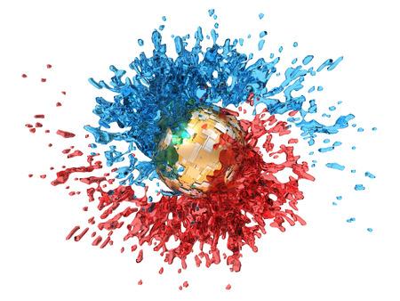 3d illustration of dual fluid power Imagens
