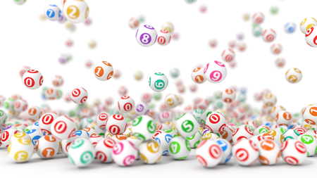 3d illustration of lottery balls stack. Stock Photo