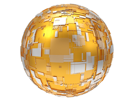 3d illustration of technological golden sphere 版權商用圖片