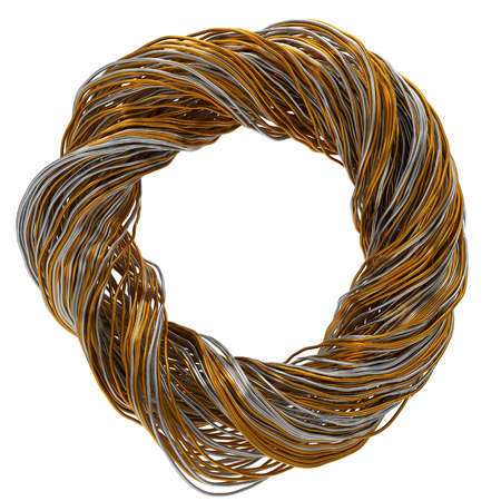 3d illustration of twisting gold and steel wires