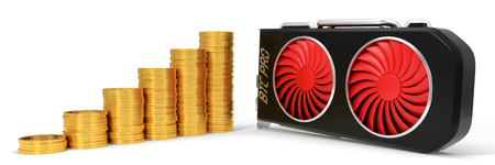 vga: Video card and golden bitcoin coins. 3d illustration. suitable for bitcoin and other mining themes. Foto de archivo