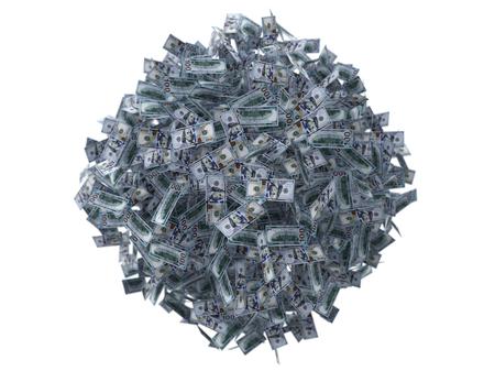 one hundred dollars: dollar banknote ball. 3d illustration. Stock Photo