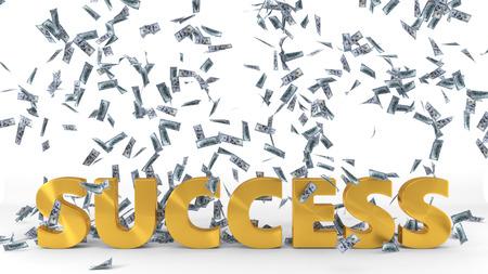 golden success text under dollar banknote rain. 3d illustration. Foto de archivo