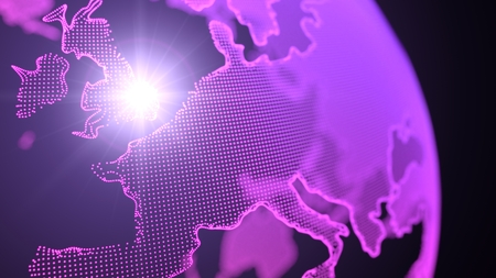 dot style purple hologram of earth continents.focused on england Stok Fotoğraf