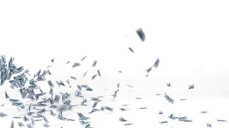 flying dollar banknotes. 3d illustration. Reklamní fotografie