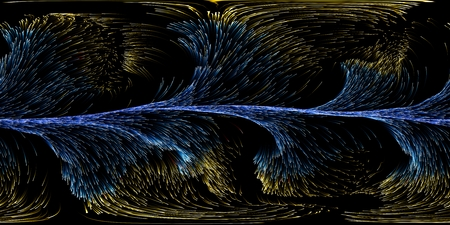 360 degree panoramic view into energy particles swarm. 3d illustration. Imagens