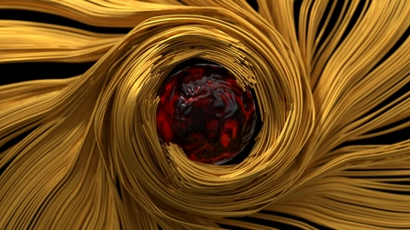 conceptual design of a sphere and wires. 3d illustration.