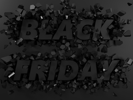 black friday text and exploding background. 3d illustration.