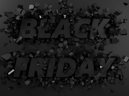 zwarte vrijdag tekst en exploderende achtergrond. 3d illustratie.