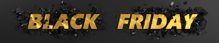 black friday header with golden text and exploding background. 3d illustration.