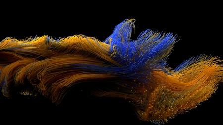 kleurrijke glasvezelkabels zwermen. 3d illustratie. Stockfoto