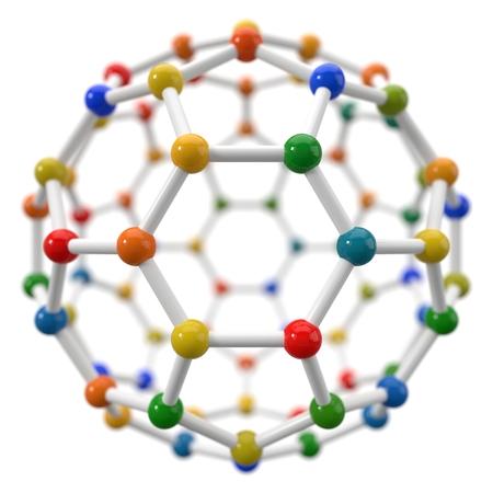 spherical molecule model on white background.