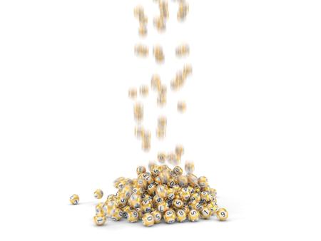 falling golden lottery balls. 3d illustration