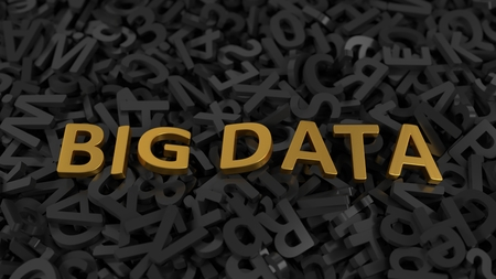 golden big data text on stack of letters. 3d illustration