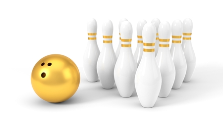 golden bowling ball and pins. isolated on white, 3d illustration