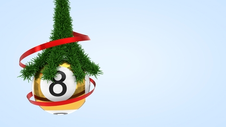 lottery ball with pine branch. 3d illustration suitable for christmas themes.