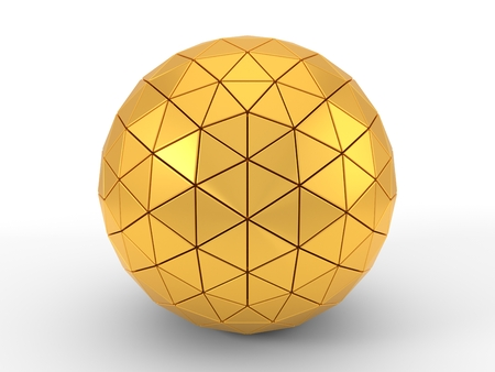 triangle plated golden sphere. 3d illustration, suitable for technology themes. isolated on white Banco de Imagens