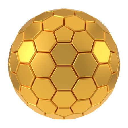 hexagon plated golden sphere. 3d illustration