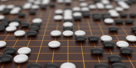 Traditional asian goban board and weiqi go game. 3d illustration, with depth of field blur effect.